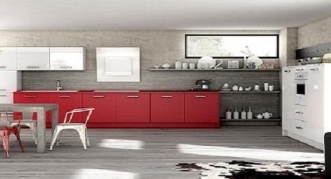 Une cuisine contemporaine minimaliste et industrielle avec du rouge.