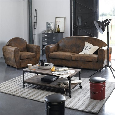 un fauteuil club effet cuir vieilli la redoute. Black Bedroom Furniture Sets. Home Design Ideas