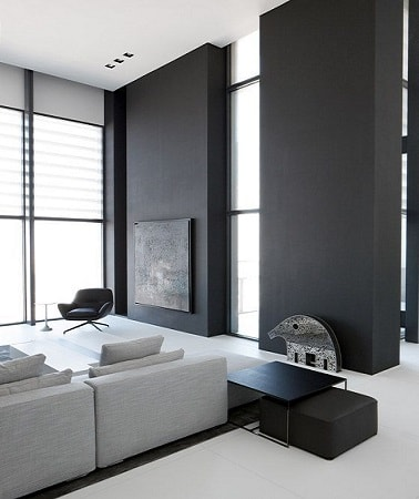 Gris anthracite et blanc dans salon d co contemporaine - Salon peint en gris ...