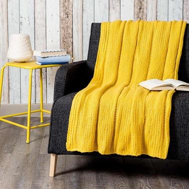 Plaid maisons du monde et autres douceurs pour l hiver - Plaid jaune moutarde ...