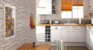 Papier peint cuisine 20 exemples d co pour l 39 adopter - Imitation brique blanche ...