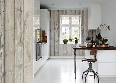 Rnover une cuisine en bois 5 conseils suivre avant de Papier peint meuble cuisine