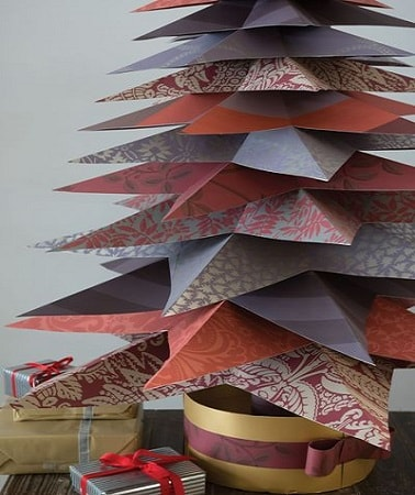 Papier peint farrow and ball un sapin de no l original - Comment faire un sapin en origami ...