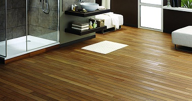 un parquet en bambou co forest pour salle de bain. Black Bedroom Furniture Sets. Home Design Ideas