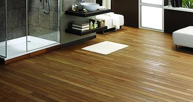 Un parquet en bambou co forest pour salle de bain for Parquet flottant pour salle de bain