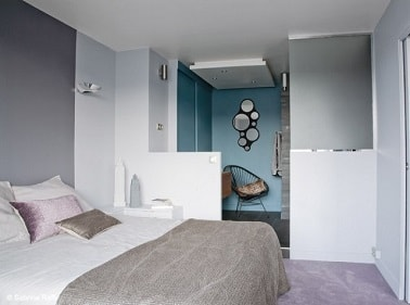peinture couleur gris blanc bleu dans chambre parentale. Black Bedroom Furniture Sets. Home Design Ideas