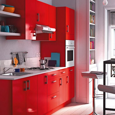 image gallery longueur cuisine en rouge. Black Bedroom Furniture Sets. Home Design Ideas