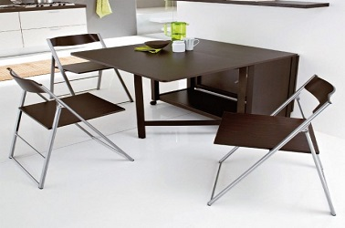 Petites tables de cuisine en 14 mod les d co gain de place for Table escamotable de cuisine