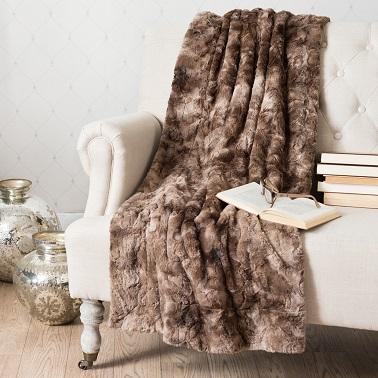 plaid effet fausse fourrure marron maisons du monde. Black Bedroom Furniture Sets. Home Design Ideas
