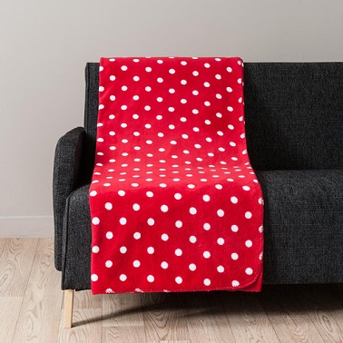 Plaid rouge a pois blancs douceur maisons du monde for Plaid maison du monde