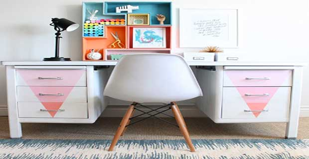Diy d co repeindre un vieux bureau en m tal deco cool for Meuble bureau en metal