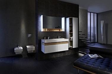 Des meubles de salle de bain tendances en bois, blanc et noir.