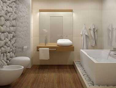 Salle de bain design galet et carrelage blanc for Galets de salle de bain