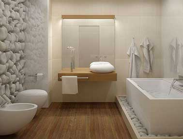 Salle de bain design galet et carrelage blanc for Salle de bain zen galet