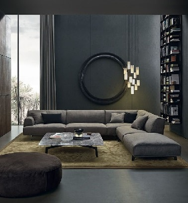 un salon contemporain avec peinture couleur gris anthracite. Black Bedroom Furniture Sets. Home Design Ideas