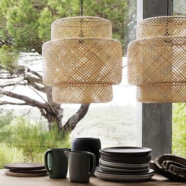 Abats-jour en bambou naturel éco-responsable ambiance déco nature douce