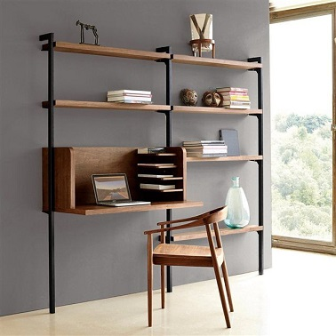 Un am nagement bureau tag res bois design la redoute for Etagere de bureau ikea