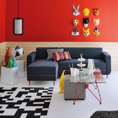 Une petite méridienne pour un canapé d'angle pas cher tendance dans un studio contemporain et confort.