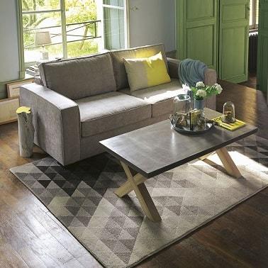 Des coussins moelleux pour une assise cosy sur un petit canapé spécial petits espaces.