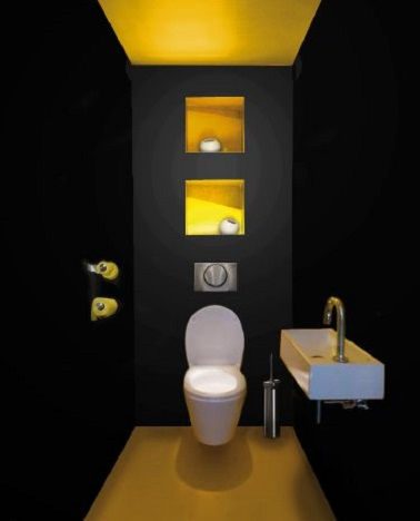 un wc noir et jaune d co p tillante. Black Bedroom Furniture Sets. Home Design Ideas