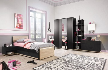 une chambre ado fille style paris glamour gautier. Black Bedroom Furniture Sets. Home Design Ideas