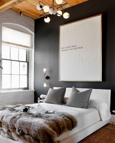 une chambre cocooning moderne gris anthracite et blanc. Black Bedroom Furniture Sets. Home Design Ideas