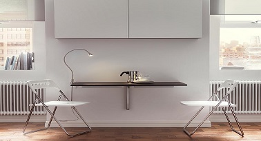 une petite table de cuisine fixee au mur ikea. Black Bedroom Furniture Sets. Home Design Ideas