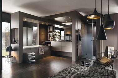 Une salle de bain design en noir et gris perene - Meuble salle de bain design gris ...