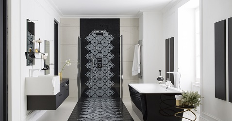 une salle de bain design noir et blanc perene. Black Bedroom Furniture Sets. Home Design Ideas