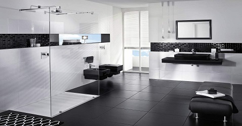 une salle de bain noir et blanc design aubade. Black Bedroom Furniture Sets. Home Design Ideas