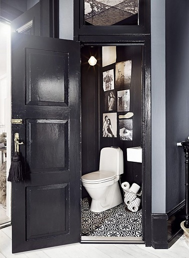wc d co noir avec carreaux de ciment. Black Bedroom Furniture Sets. Home Design Ideas