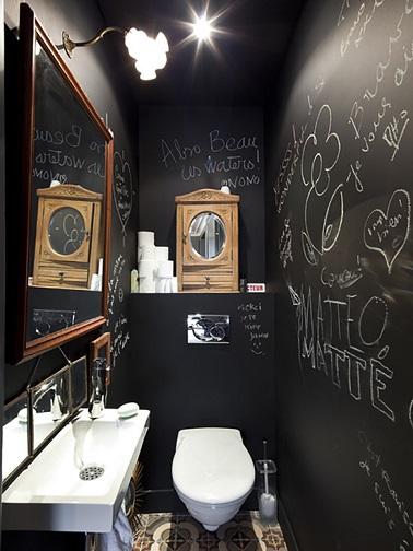 Des wc noir une couleur d co pour les toilettes - Peinture wc original ...