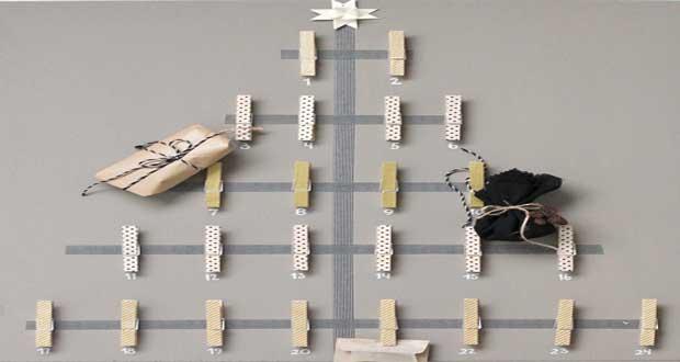 Dans l'esprit déco Noël à fabriquer maison, Déco Cool a déniché un DIY Déco de calendrier de l'Avent en plein dans la tendance à réaliser facilement avec des pinces en bois et du masking tape