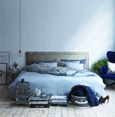 couleur chambre en d grad de bleu et gris. Black Bedroom Furniture Sets. Home Design Ideas