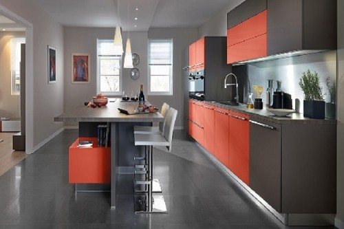 cuisine americaine rouge avec mange debout schmidt. Black Bedroom Furniture Sets. Home Design Ideas