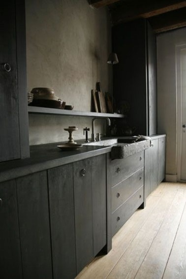 d co cuisine avec peinture sur meubles bois gris anthracite. Black Bedroom Furniture Sets. Home Design Ideas