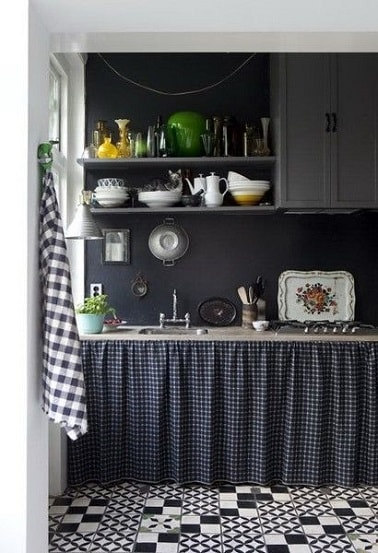 d co r tro dans cuisine peinte en gris anthracite. Black Bedroom Furniture Sets. Home Design Ideas