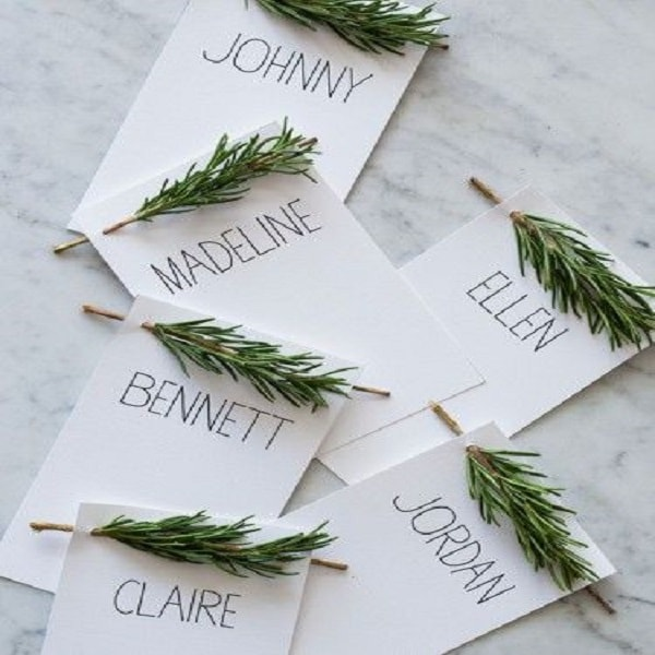 Des supports de prénom mignons pour placer les convives autour de la table le jour de Noël.