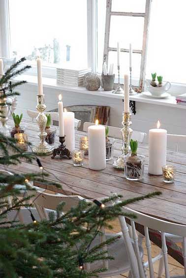 Inspiration noel scandinave idee chemin de table - Table de noel scandinave ...
