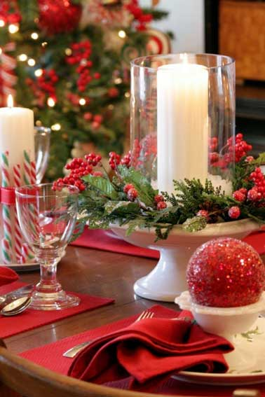 Inspiration table de noel traditionnelle rouge et blanche - Table de noel traditionnelle ...