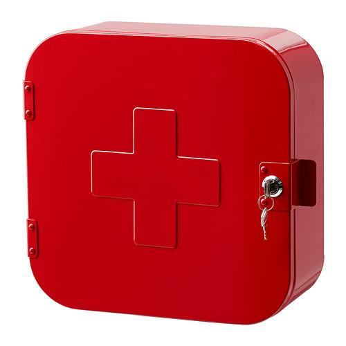 Petite salle de bain armoire de rangement pharmacie rouge for Rangement petite salle de bain