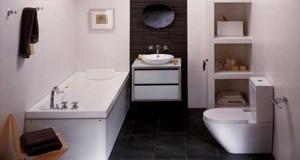 Dans une salle de bain de 3, 5 à 6m², meuble de rangement, plan vasque, petite baignoire, 3 bonnes idées déco pour l'aménagement d'une petite salle de bain