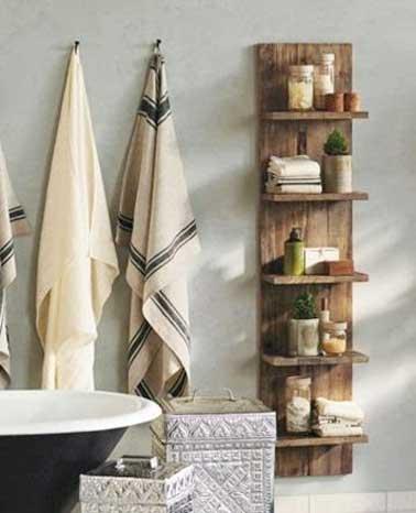 Petite salle de bains rangement muraux idees bois deco for Idee de rangement pour petite salle de bain