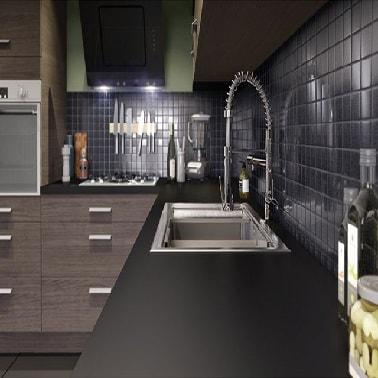 plan de travail noir mat anti traces chez castorama. Black Bedroom Furniture Sets. Home Design Ideas