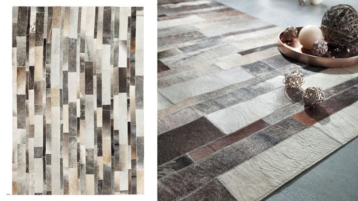 Un tapis en cuir comme des pièces assemblées indépendamment les unes aux autres.
