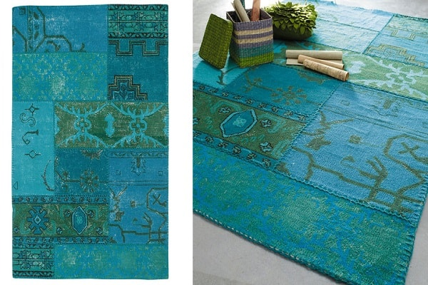 tapis de salon bleu turquoise et orange. Black Bedroom Furniture Sets. Home Design Ideas