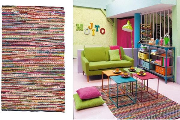 Un tapis plein de gaieté avec des mini rayures de toutes les couleurs.