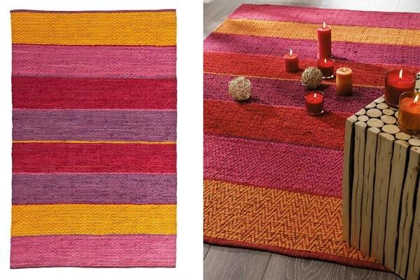 Un tapis à larges bandes colorées pour donner du peps à la déco par Maisons du Monde.