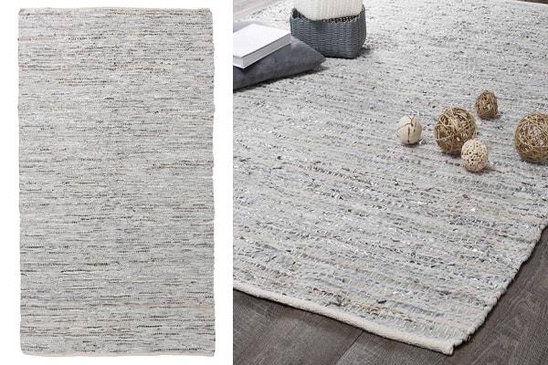 Du cuir et une couleur gris et voilà un tapis original et déco.