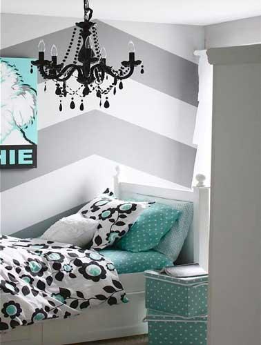 une chambre ado fille avec deco geometrique. Black Bedroom Furniture Sets. Home Design Ideas